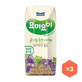 [슈퍼마트] 요미요미 유기농주스 보라당근포도 125ml*3입